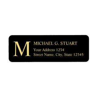 Étiquette Noir et monogramme élégant d'or
