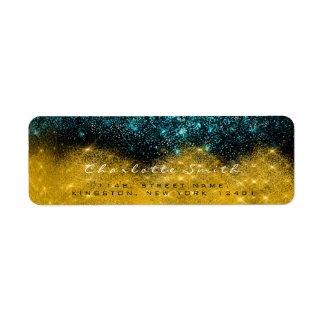 Étiquette Noir scintillant Teal RSVP de confettis de sépia