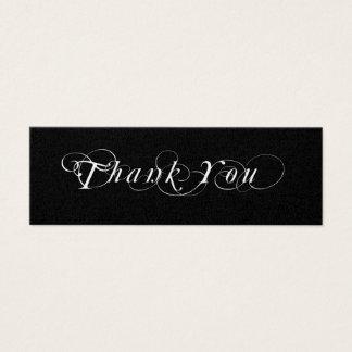 Étiquette noire et blanche de cadeau de faveur de mini carte de visite