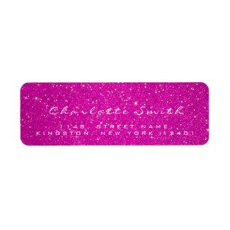 Étiquette Nom rose chaud de confettis d'or des parties