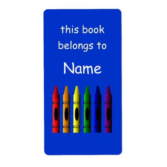 Étiquette nommé d'ex-libris d'école de crayon de
