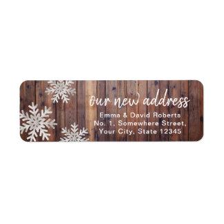 Étiquette Nos flocons de neige rustiques d'hiver de nouvelle