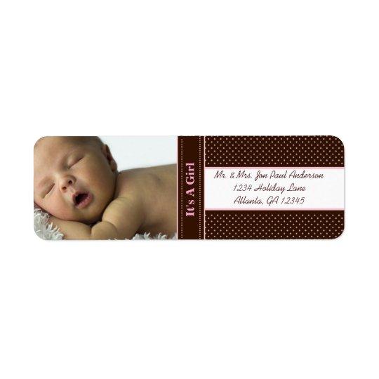 Étiquette Nouveau bébé c'est une fille Brown et les points