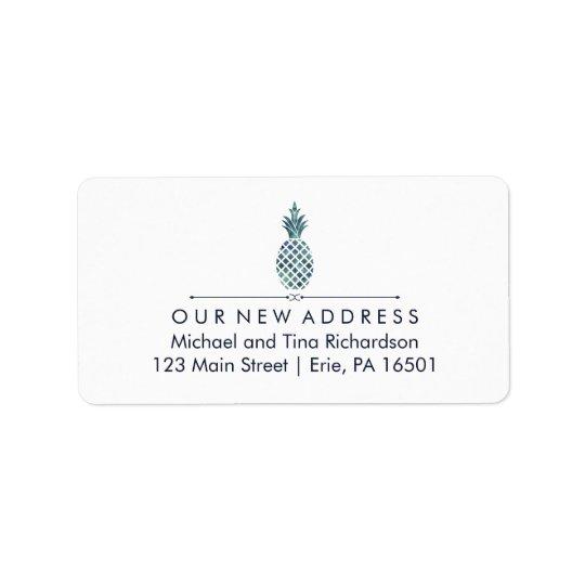 Étiquette Nouvelle adresse avec l'ananas bleu de regard
