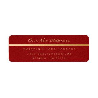 Étiquette Nouvelle adresse RSVP d'or de Merci rouge de