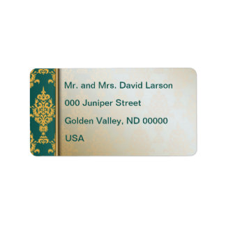 Étiquette Or de damassé à la frontière gauche turquoise