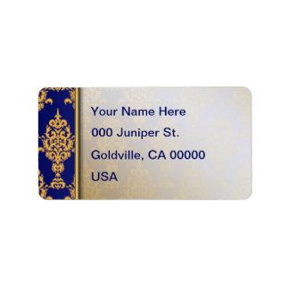 Étiquette Or de damassé sur le bleu royal