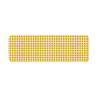Étiquette Or de récolte et motif blanc de plaid de contrôle