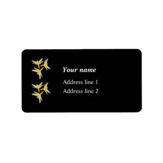 Étiquette Or et libellules colorées par jaune