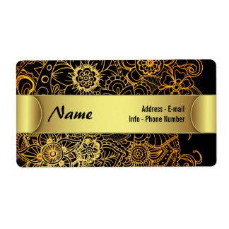 Étiquette Or floral G523 de griffonnage d'étiquette