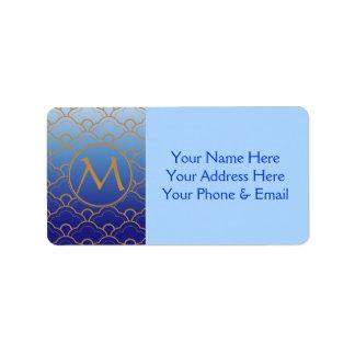 Étiquette Or gradué par feston de bleu royal de Seigaiha de