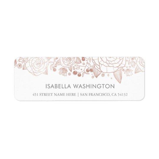 Étiquette Or rose et fleurs chics du blanc |