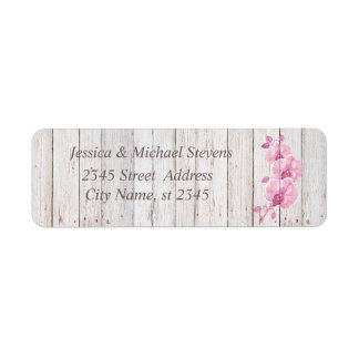Étiquette Orchidée chic en bois de mariage doux moderne