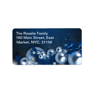 Étiquette Ornements bleus de perle de vacances de Noël