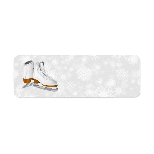 Étiquette paires d'étiquettes de adresse blancs de patins de