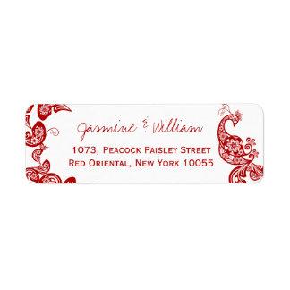 Étiquette Paon floral rouge Weddding chic élégant de Paisley