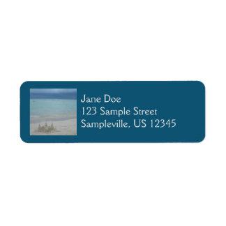 Étiquette Paysage orageux de plage de pâté de sable