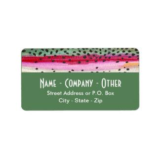 Étiquette Pêche faite sur commande de peau de truite