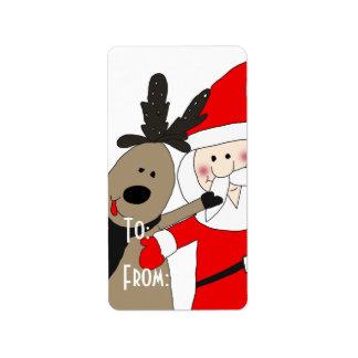 Étiquette Père Noël gai et renne