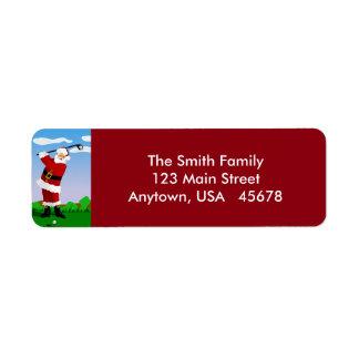 Étiquette Père Noël jouant au golf