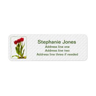 Étiquette Personnalisez : Adressez la photo rouge de tulipes