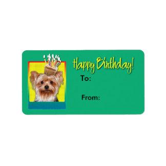Étiquette Petit gâteau d'anniversaire - Yorkshire Terrier