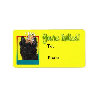 Étiquette Petit gâteau d'invitation - cairn Terrier - Rosco