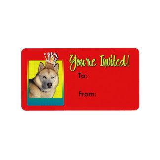 Étiquette Petit gâteau d'invitation - chien de traîneau