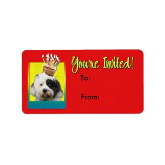 Étiquette Petit gâteau d'invitation - Terrier tibétain