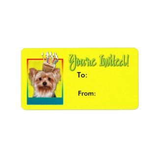 Étiquette Petit gâteau d'invitation - Yorkshire Terrier