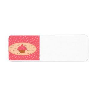 Étiquette Petit gâteau rose avec le pois