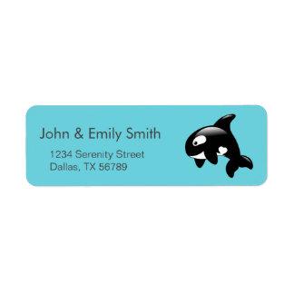 Étiquette Petite baleine mignonne d'orque sur l'Aqua
