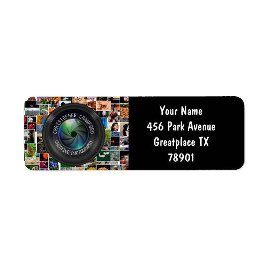 Étiquette Photographe et objectif de caméra d'affaires de