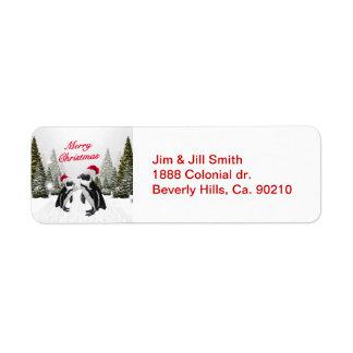 Étiquette Pingouins de Joyeux Noël dans la neige
