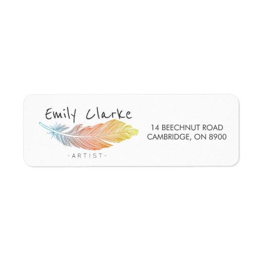 Étiquette Plume colorée personnalisée