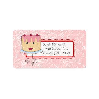 Étiquette Points roses rouges de petit gâteau de coeurs