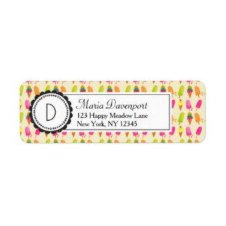 Étiquette Popsicles et monogramme personnalisé de crème