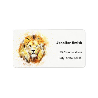 Étiquette Portrait peint de lion