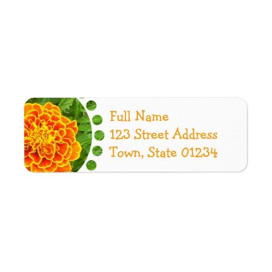 Étiquette postale orange de souci