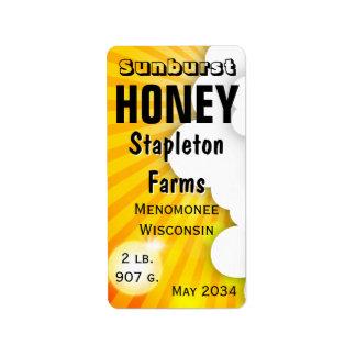 Étiquette Pot de miel de rayon de soleil personnalisé