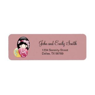Étiquette Poupée de Kokeshi de ressort - geisha japonais