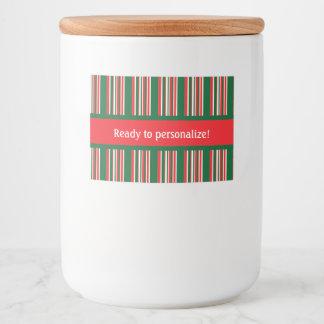 Étiquette Pour Bocaux Rayures de Noël