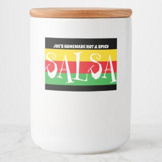 Étiquette Pour Bocaux SALSA fait maison avec les rayures vertes et