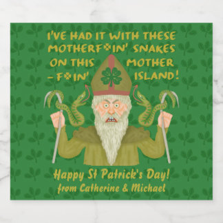 Étiquette Pour Bouteilles De Bière Le jour drôle de Patrick de saint serpente les