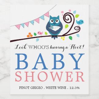 Étiquette Pour Bouteilles De Vin Baby shower lunatique de hibou