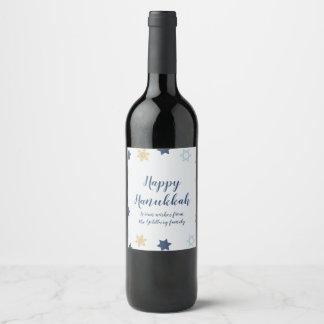 Étiquette Pour Bouteilles De Vin Bleu et or mignons Hanoukka de l'étoile de David |