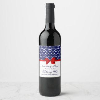 Étiquette Pour Bouteilles De Vin Bleu marine, partie rouge d'arc d'ancres blanches
