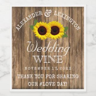 Étiquette Pour Bouteilles De Vin Bois de grange et mariage campagnard rustique de