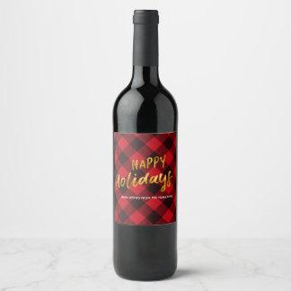 Étiquette Pour Bouteilles De Vin Bonnes fêtes Noël de plaid et d'or de Buffalo