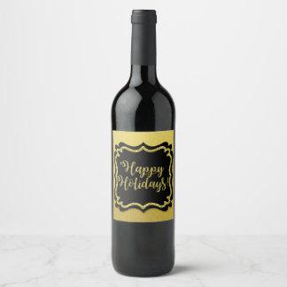 Étiquette Pour Bouteilles De Vin Bonnes fêtes ! Scintillement et noir d'or de Faux